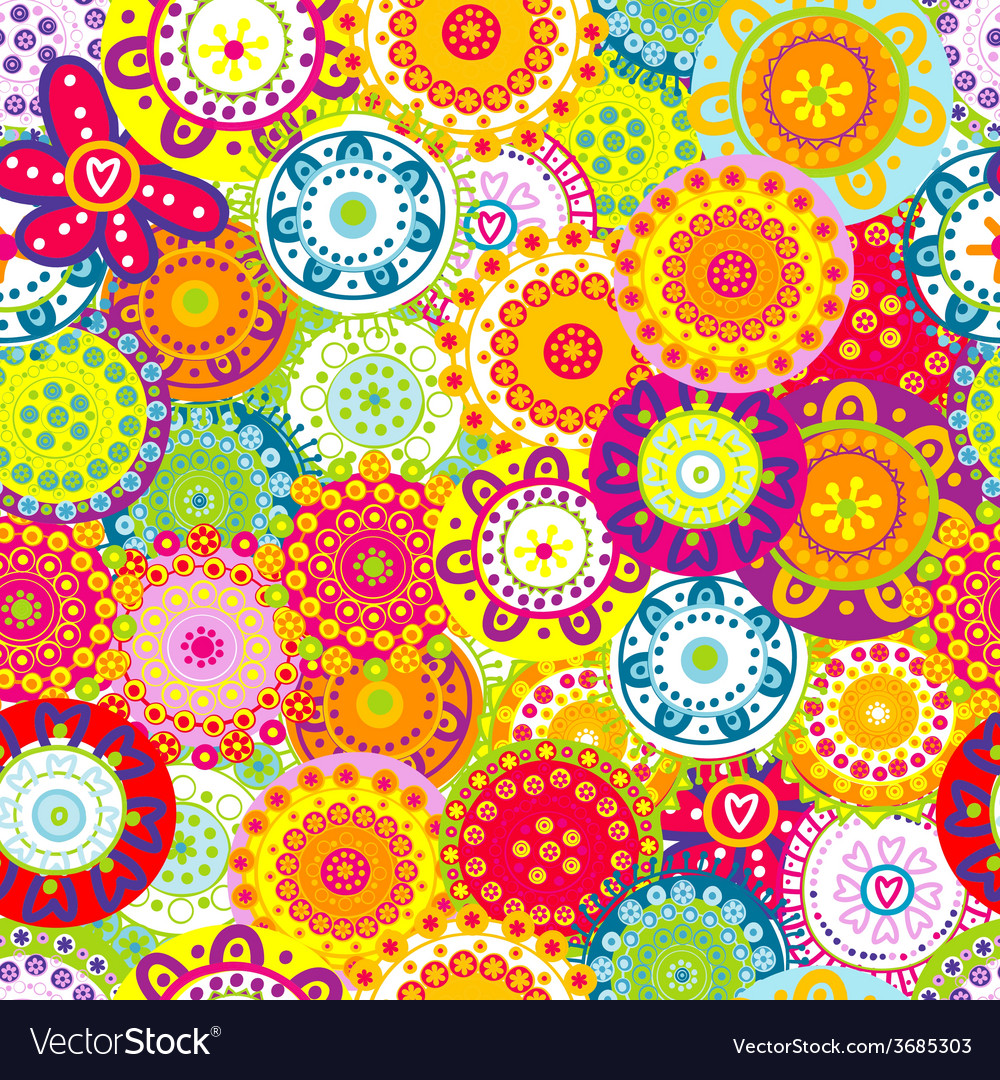 Colorful floral seamless background vector | Price: 1 Credit (USD $1)
