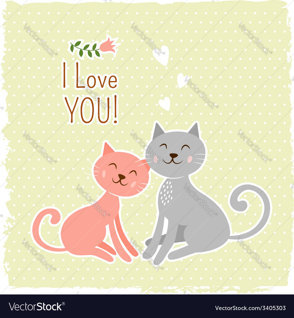 Cute cats valentine card vector | Price: 1 Credit (USD $1)