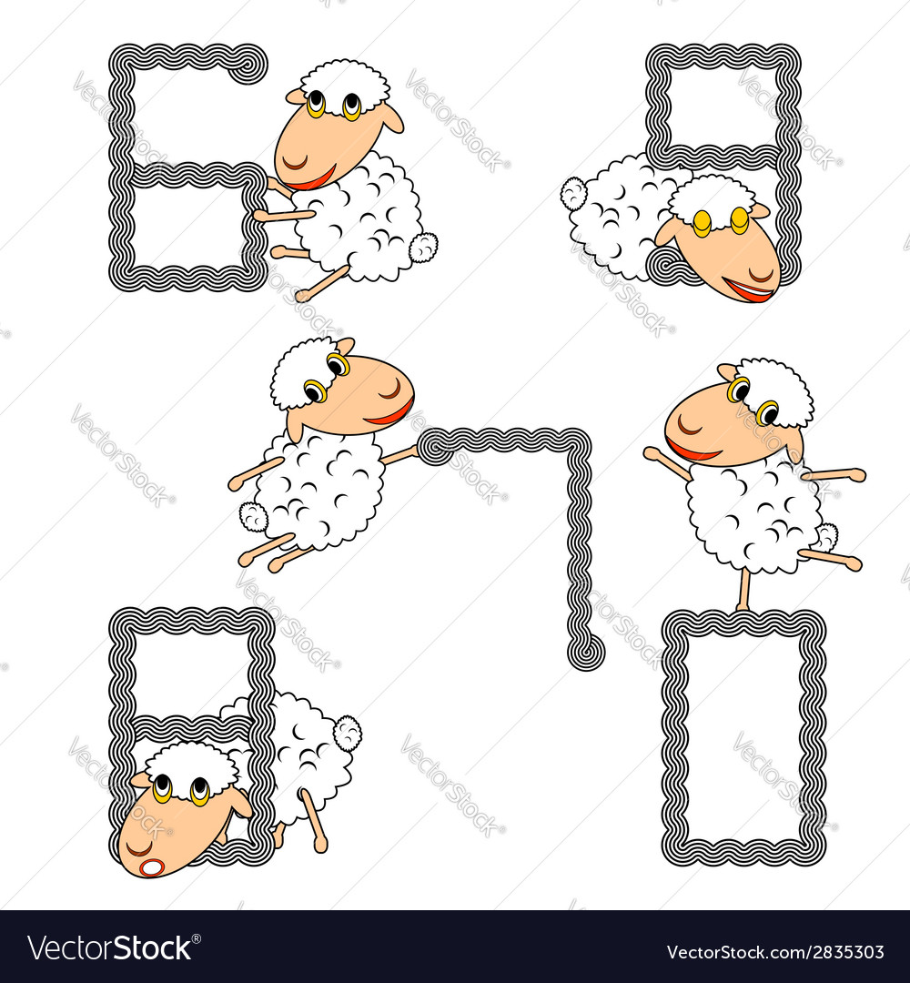 Design numbers set with funny cartoon sheep vector | Price: 1 Credit (USD $1)