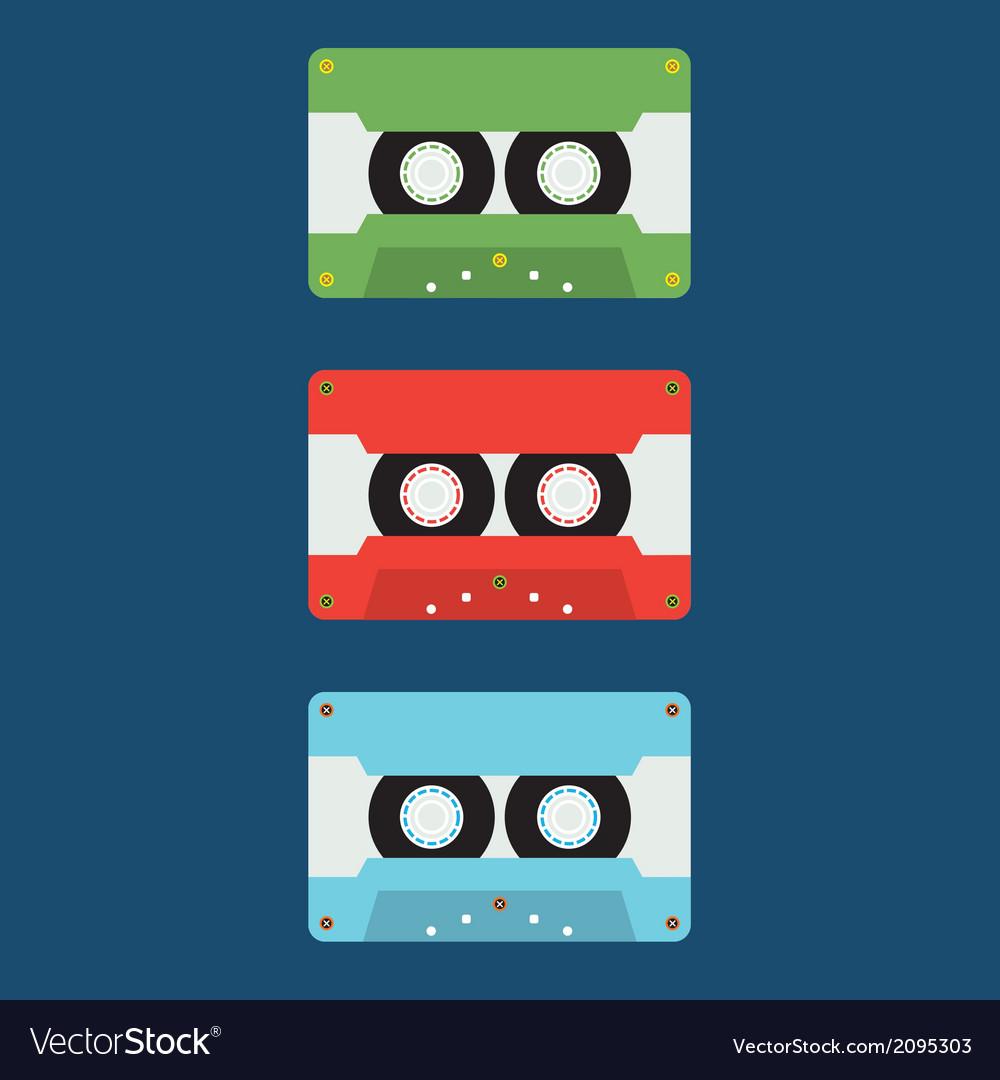 Flat design cassette tape vector   Price: 1 Credit (USD $1)