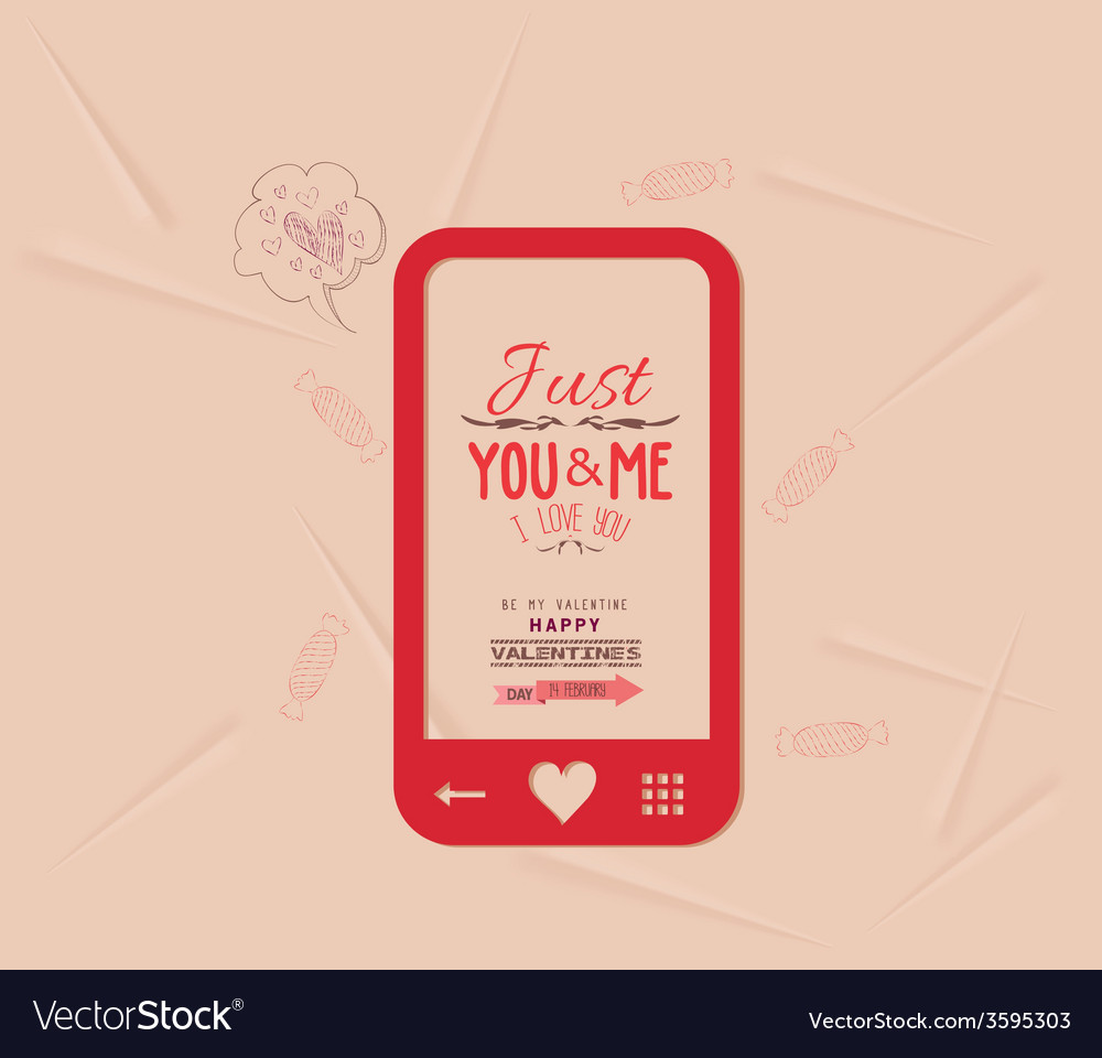 Happy valentine with phone message of love vector | Price: 1 Credit (USD $1)