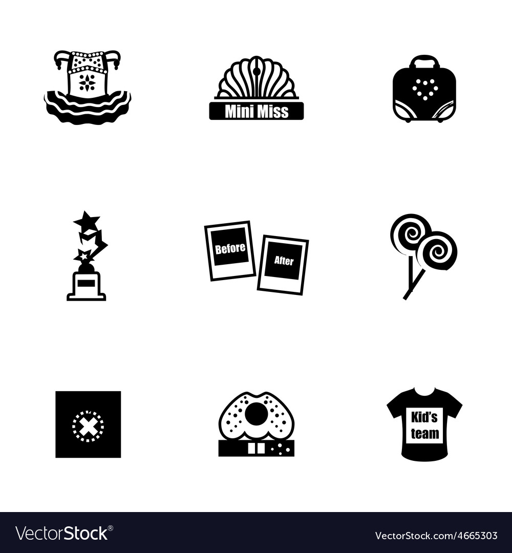 Mini miss icon set vector | Price: 1 Credit (USD $1)