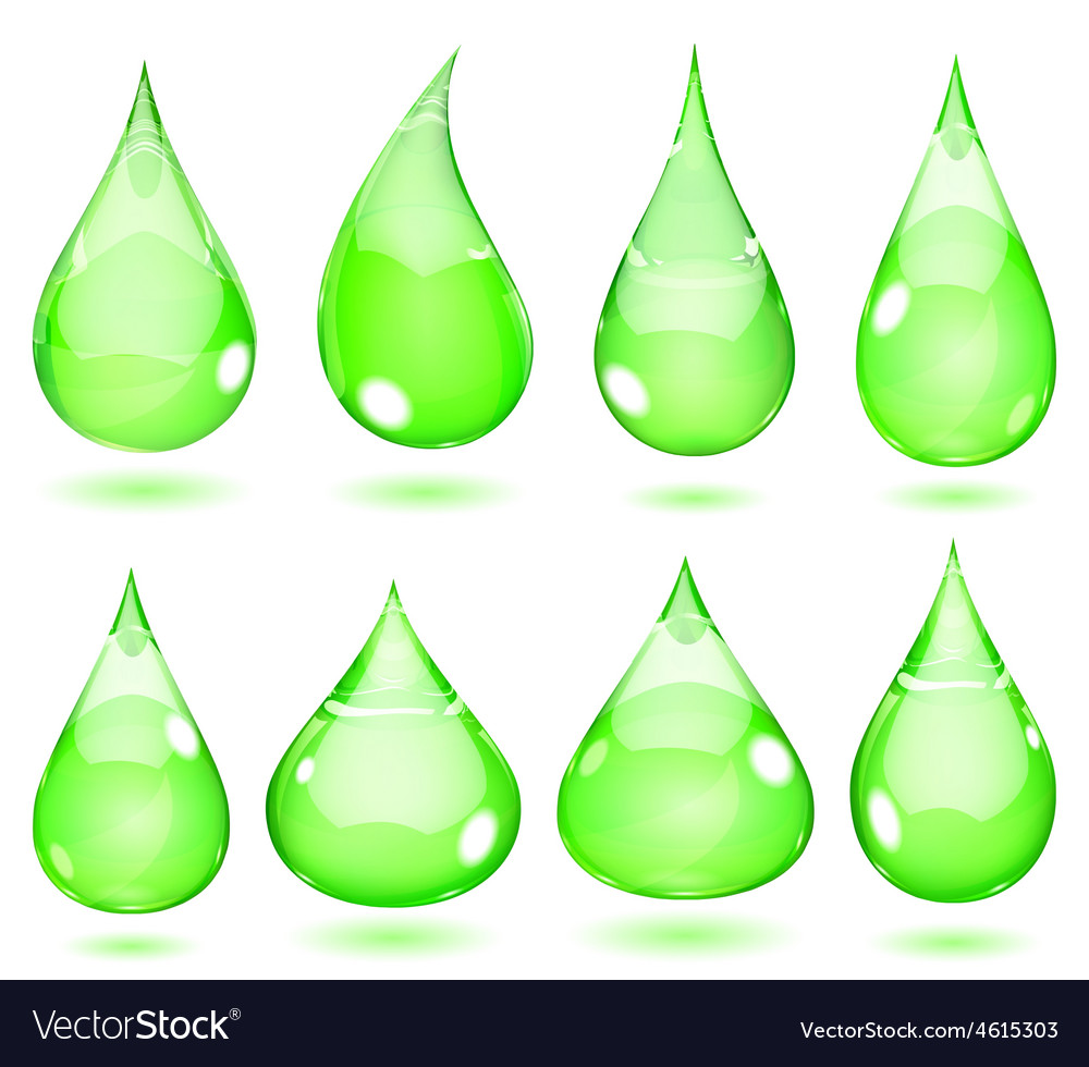 Opaque drops in saturated green colors vector | Price: 1 Credit (USD $1)