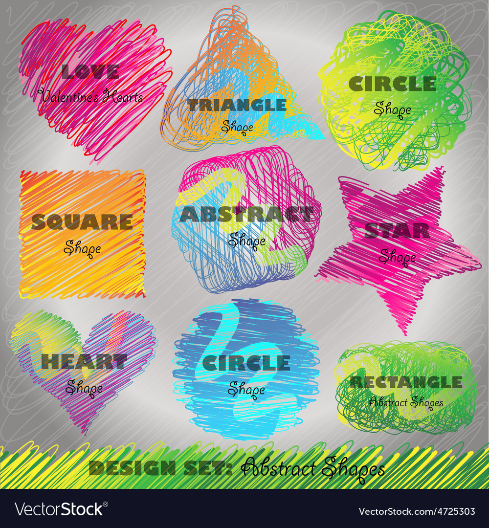 Set of colorful doodled shapes vector | Price: 1 Credit (USD $1)