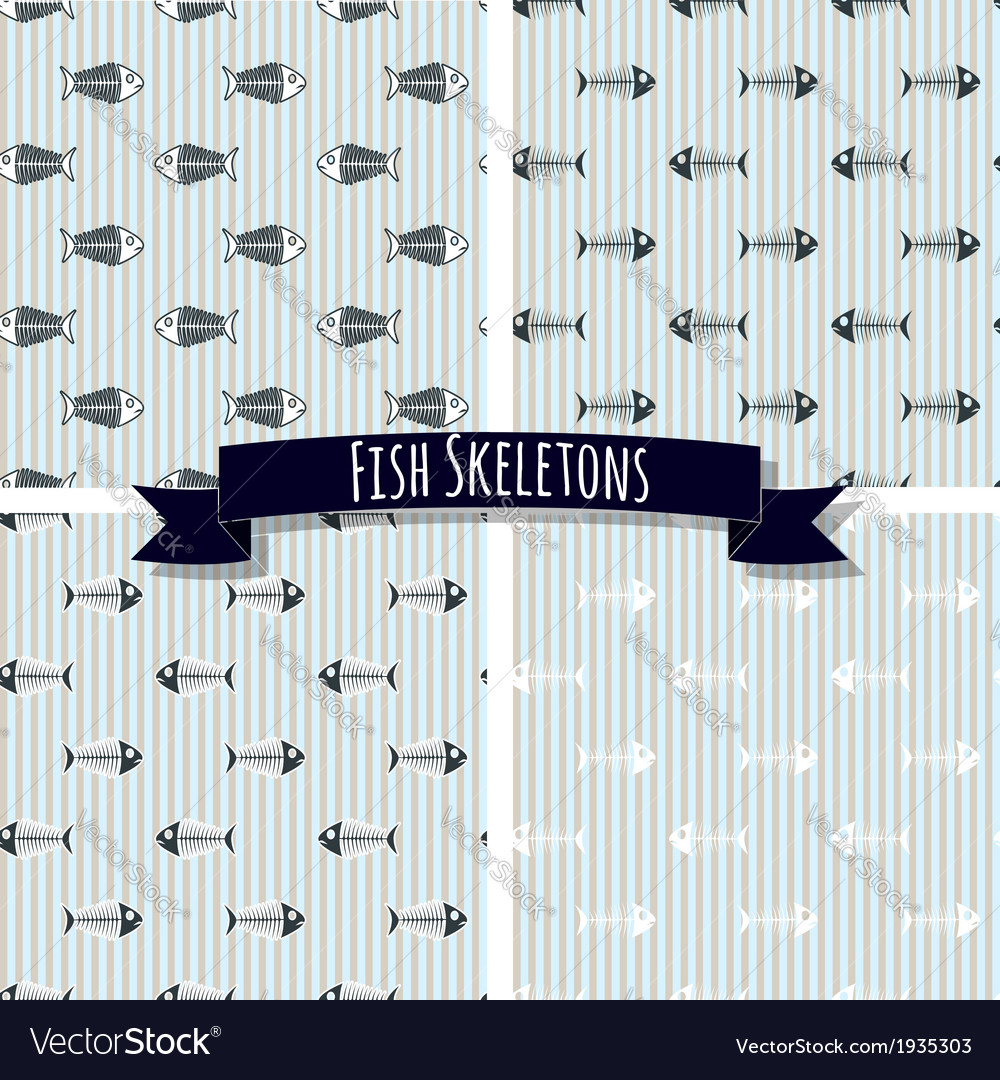 Set of fish skeleton seamless patterns vector | Price: 1 Credit (USD $1)