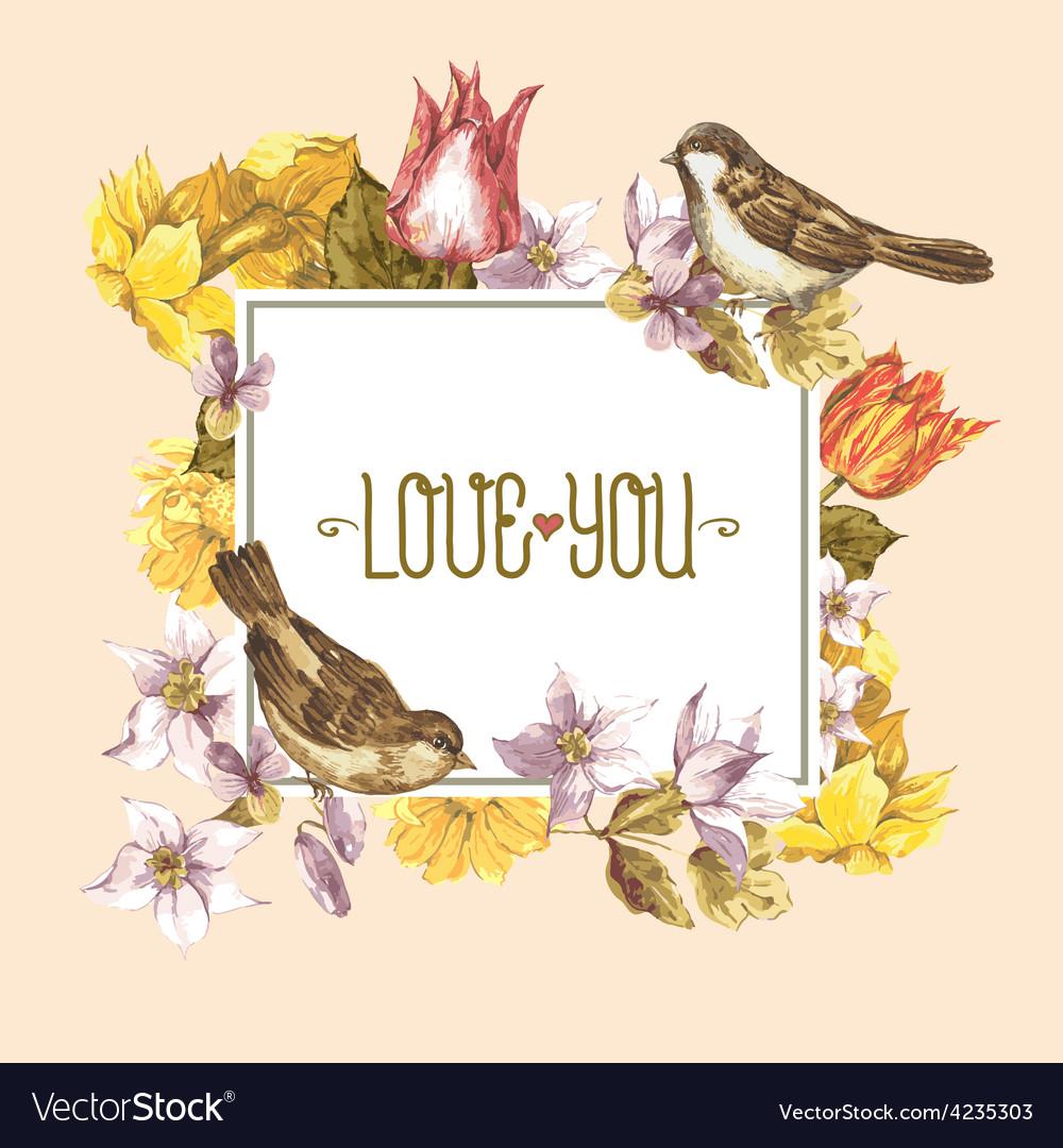 Spring floral retro card with bird sparrows vector | Price: 1 Credit (USD $1)