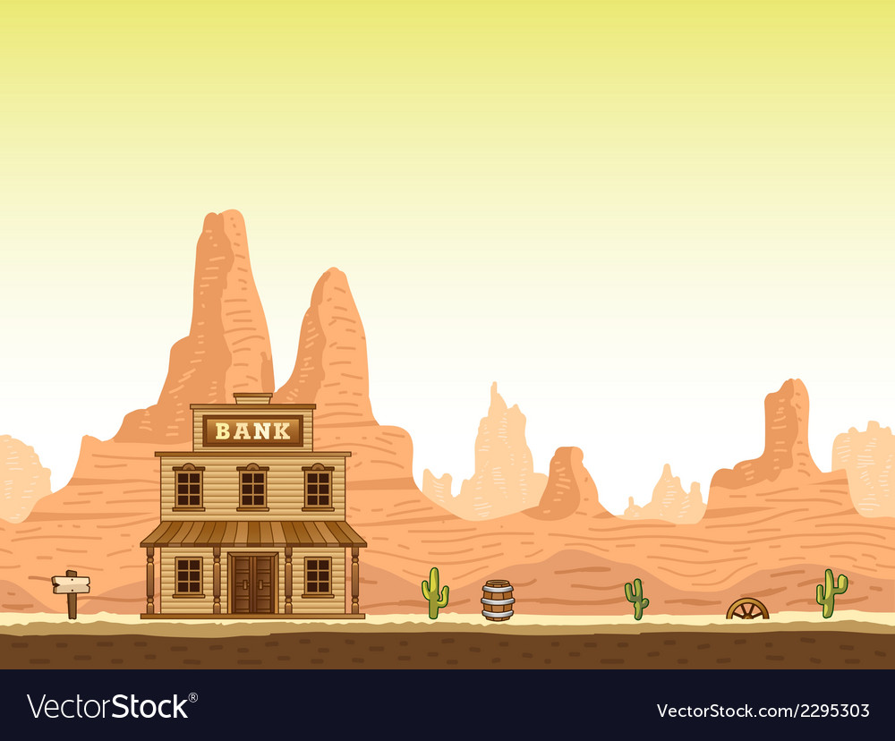 Wild old west canyon background with bank vector | Price: 1 Credit (USD $1)