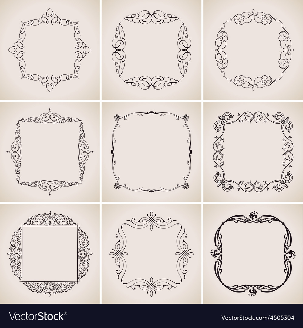 Calligraphic frames set and page decoration vector | Price: 1 Credit (USD $1)
