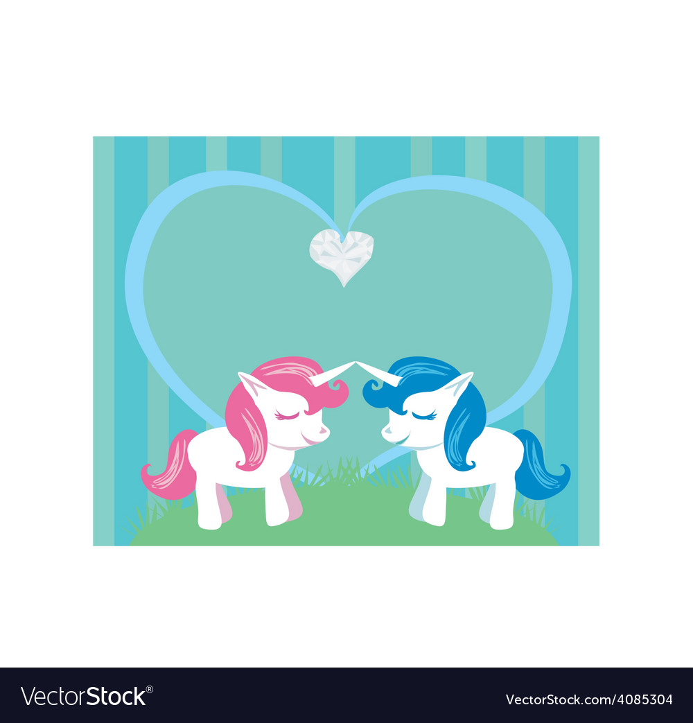 Couple of cartoon unicorns in love vector | Price: 1 Credit (USD $1)