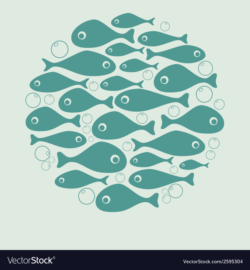 Cute blue fish circle design for card or poster vector | Price: 1 Credit (USD $1)