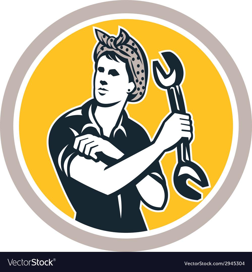 Female mechanic wrench circle retro vector | Price: 1 Credit (USD $1)