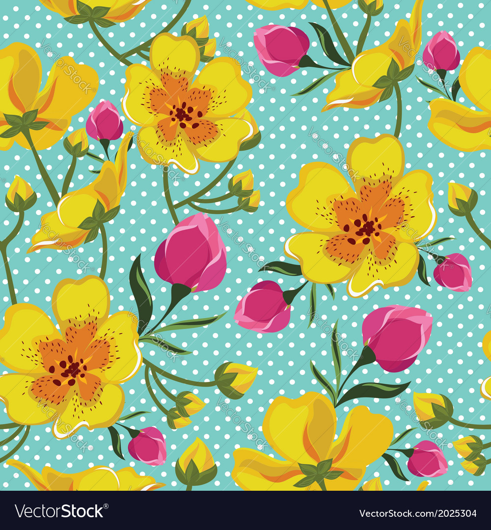 Floral seamless pattern with beautiful flowers vector | Price: 1 Credit (USD $1)