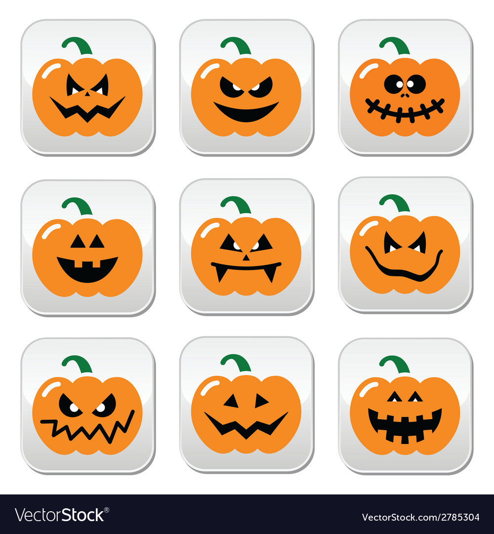 Halloween pumpkin buttons set vector | Price: 1 Credit (USD $1)