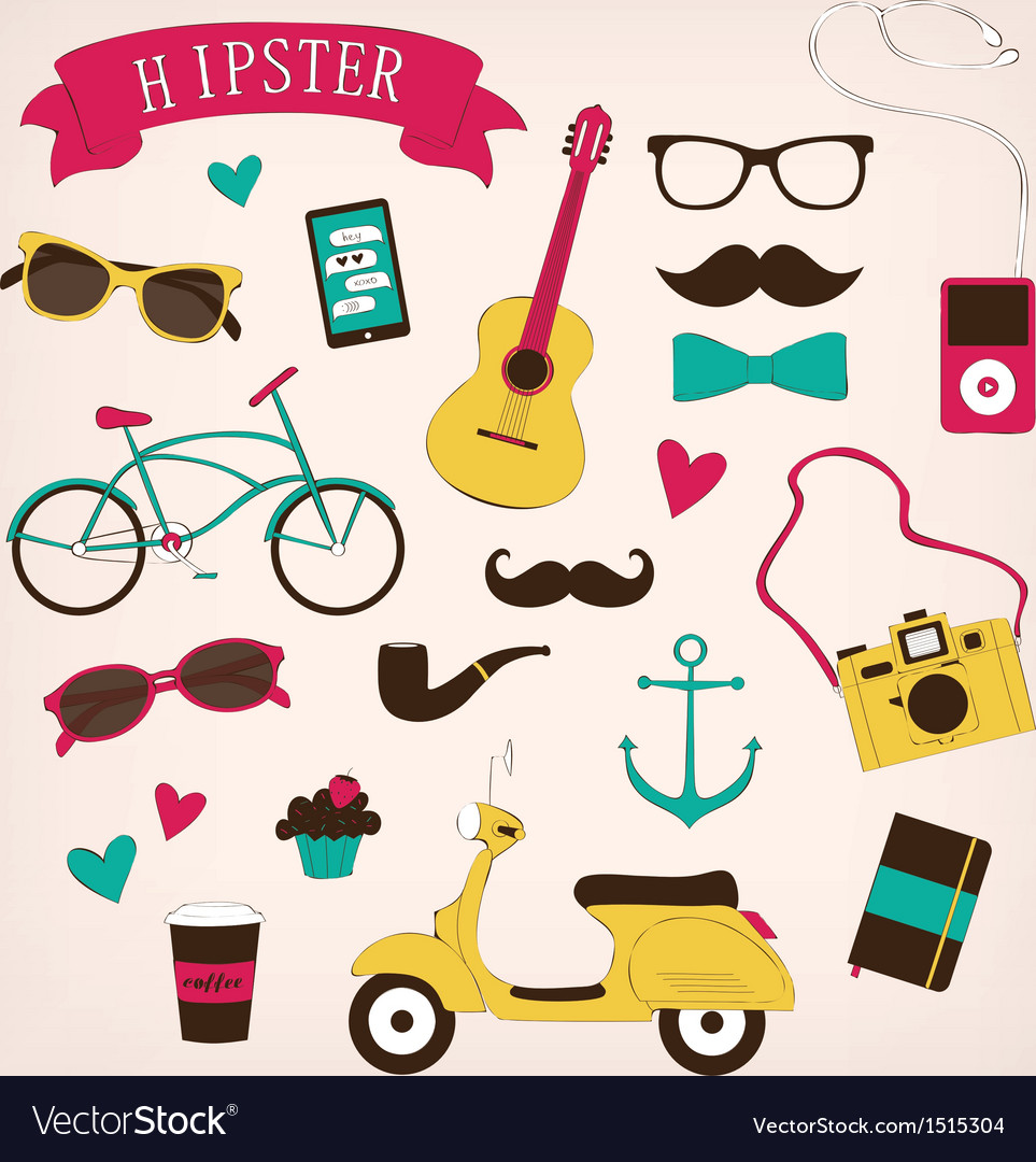 Hipster set icons vector | Price: 3 Credit (USD $3)
