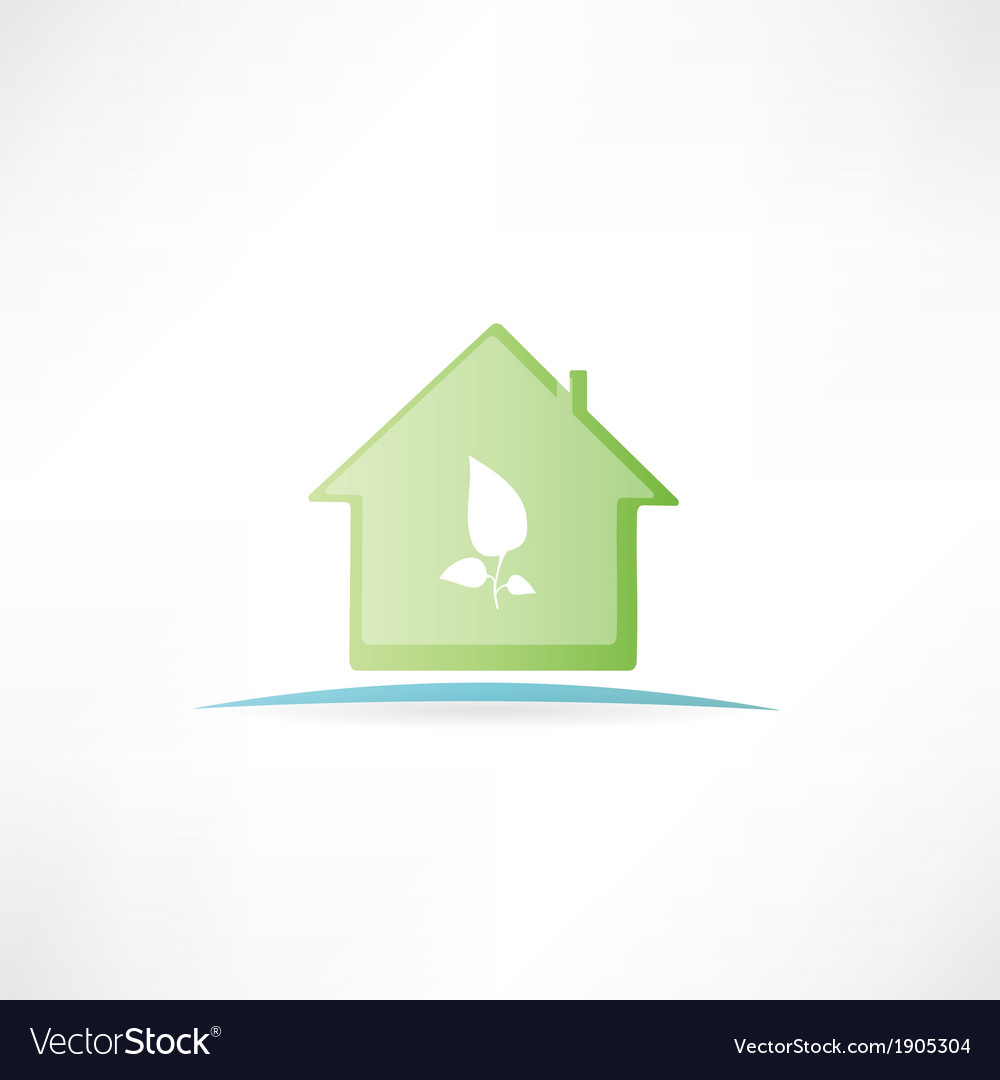 House with a painted leaf on it vector | Price: 1 Credit (USD $1)