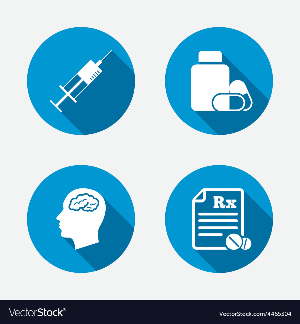 Medicine icons tablets bottle brain rx vector | Price: 1 Credit (USD $1)