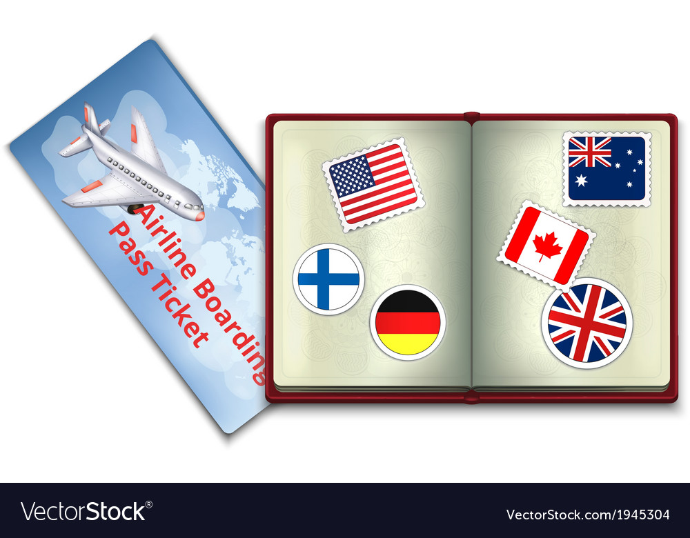 Open passport and airline boarding pass ticket vector | Price: 1 Credit (USD $1)