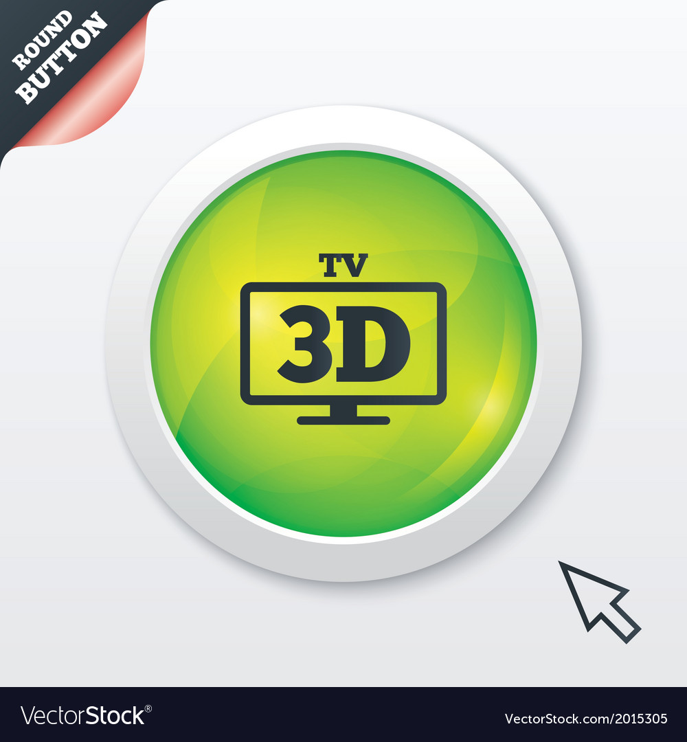 3d tv sign icon 3d television set symbol vector | Price: 1 Credit (USD $1)