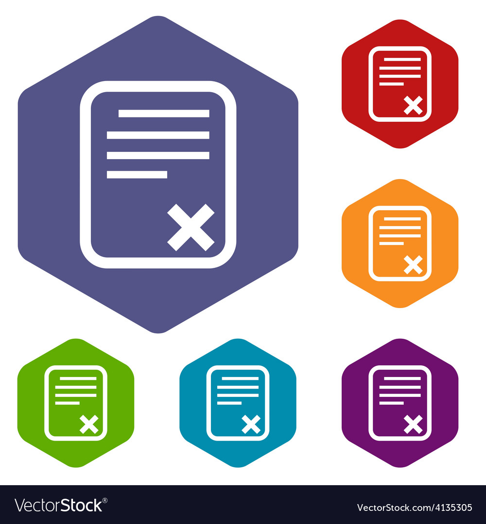 Bad document rhombus icons vector | Price: 1 Credit (USD $1)