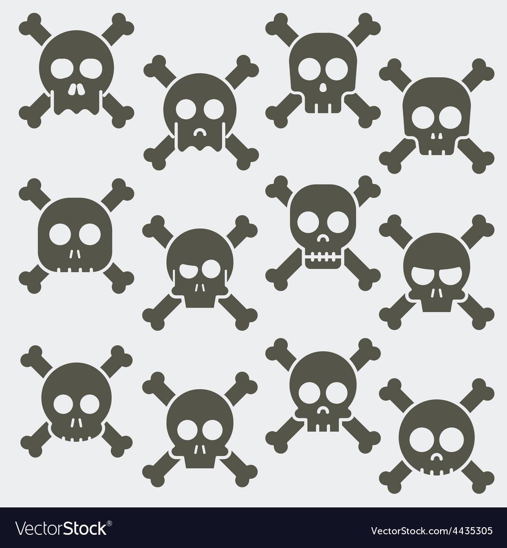Cartoon skull with bones icon set vector | Price: 1 Credit (USD $1)