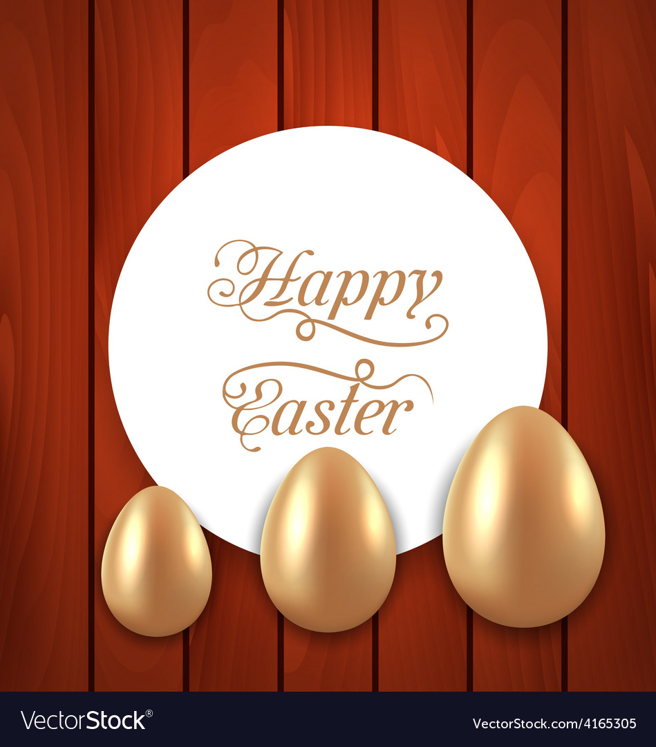 Celebration card with easter golden eggs on wooden vector   Price: 1 Credit (USD $1)