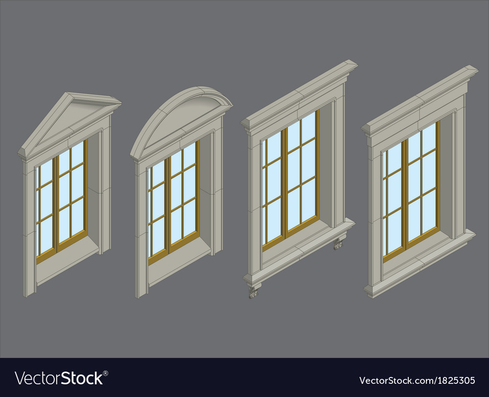 Isomentic windows set vector | Price: 1 Credit (USD $1)