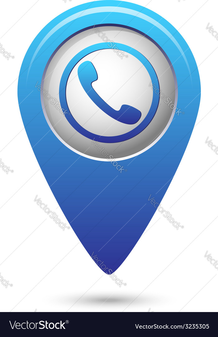 Map pointer with phone handset icon vector | Price: 1 Credit (USD $1)
