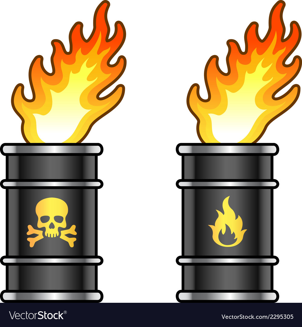 Metal oil barrels in flame with danger signs vector | Price: 1 Credit (USD $1)