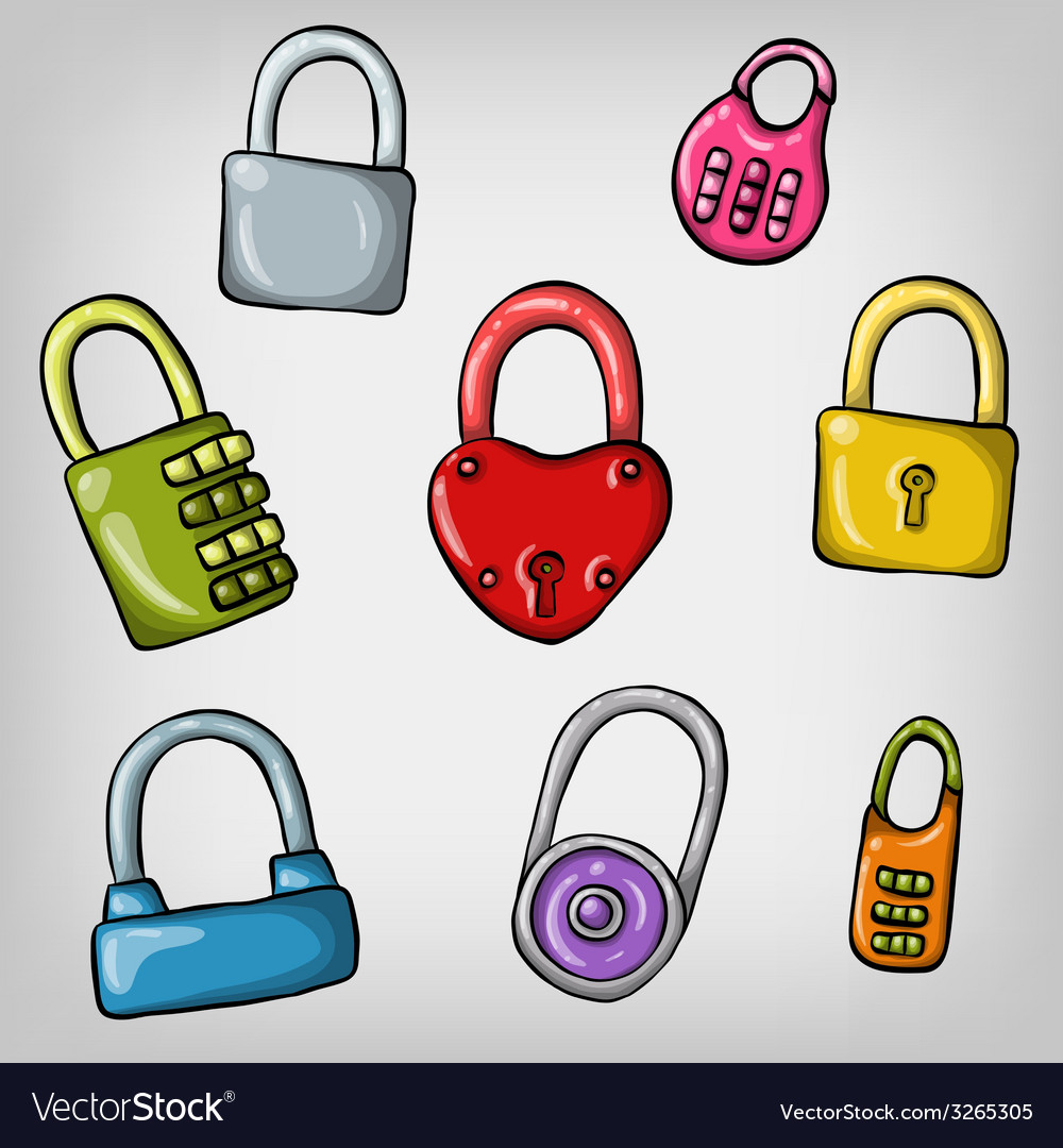 Set of cute cartoon hand drawn colorful padlocks vector | Price: 1 Credit (USD $1)