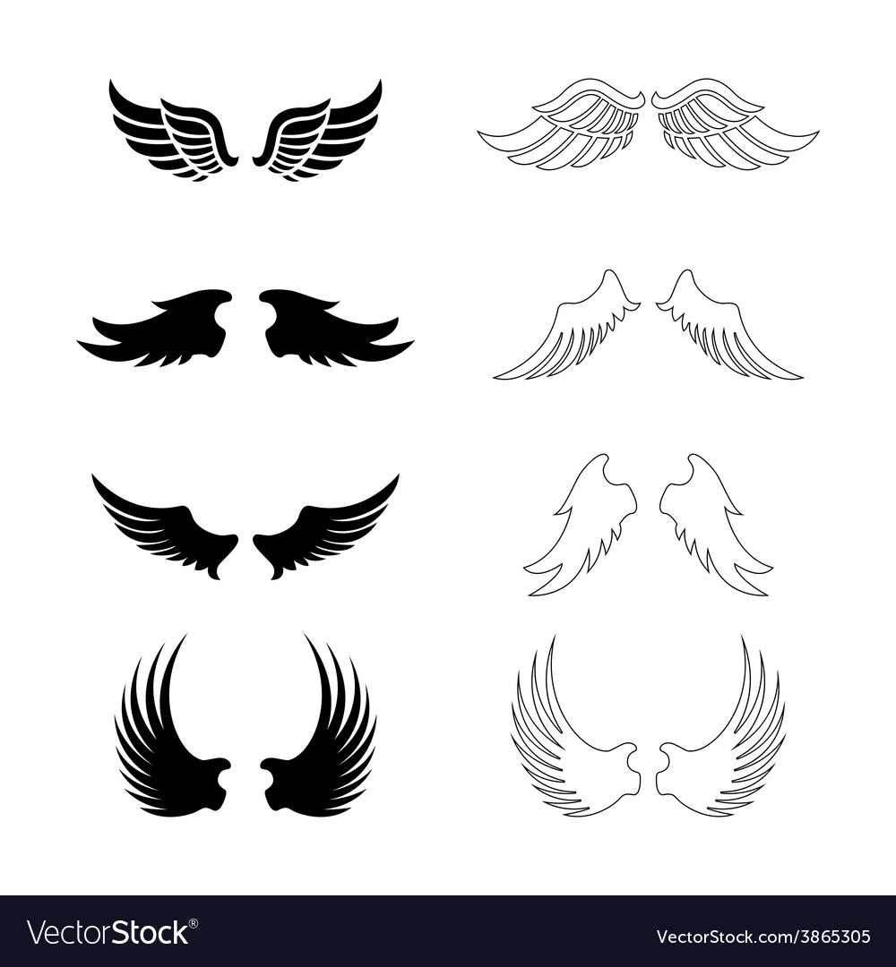 Set of wings - silhouette design elements vector | Price: 1 Credit (USD $1)