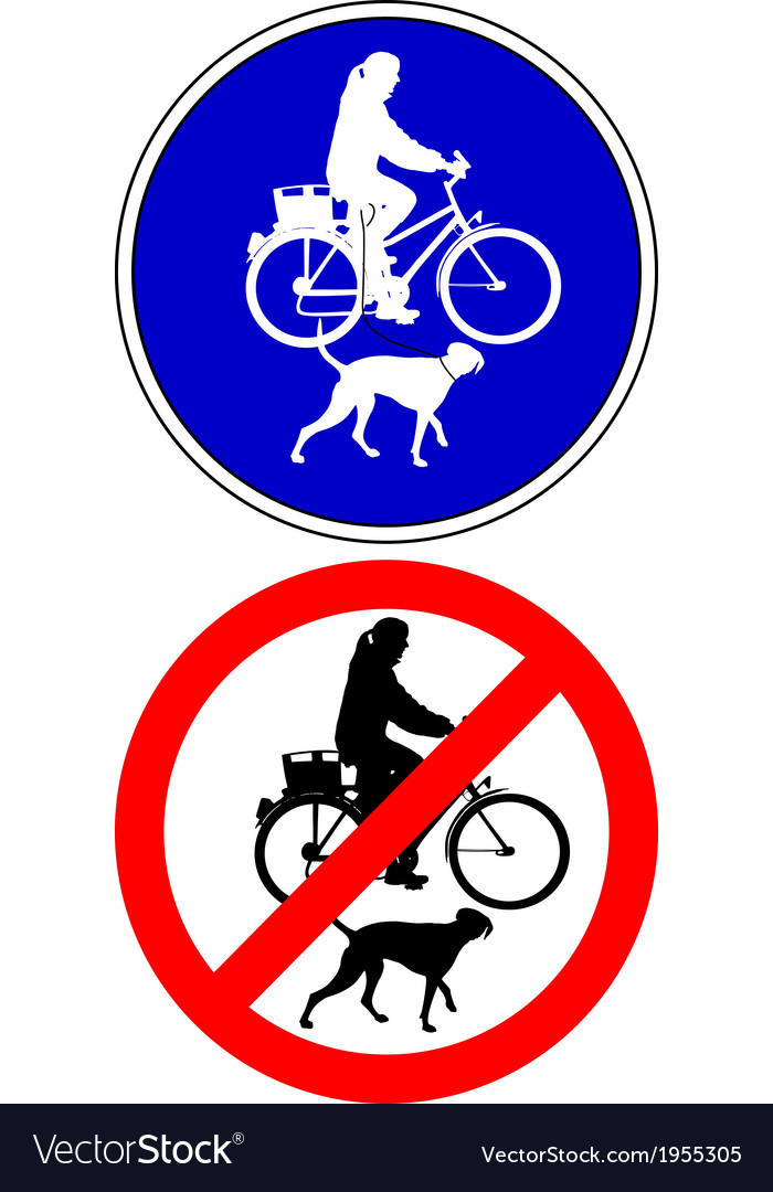 Traffic sign biking with dog vector | Price: 1 Credit (USD $1)