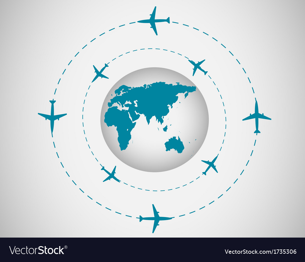 Airplanes and globe vector | Price: 1 Credit (USD $1)