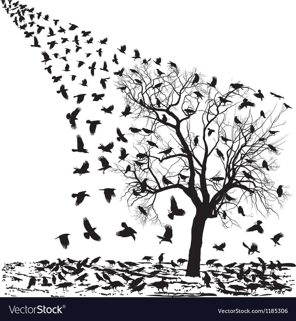 Crows on a tree in winter vector | Price: 1 Credit (USD $1)