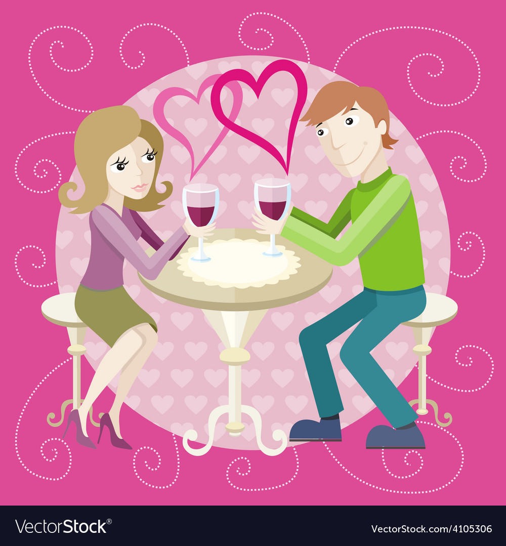 Date at restaurant vector | Price: 1 Credit (USD $1)