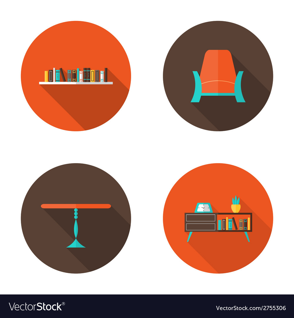 Flat furniture icons set vector | Price: 1 Credit (USD $1)