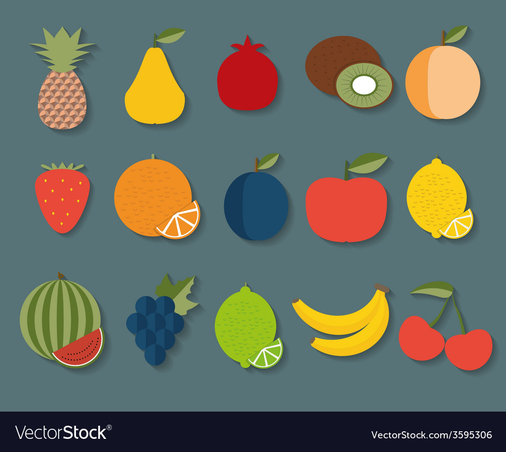 Fruit icon the image of fruits and berries symbol vector | Price: 1 Credit (USD $1)