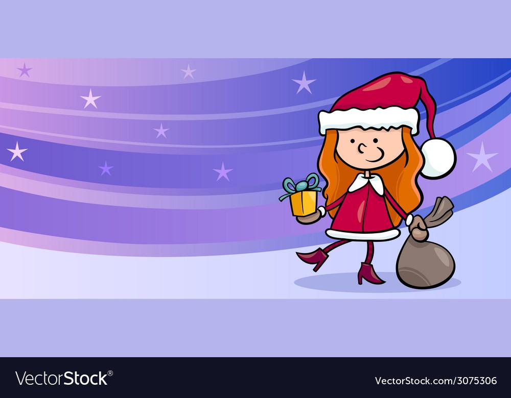 Girl santa greeting card cartoon vector | Price: 1 Credit (USD $1)