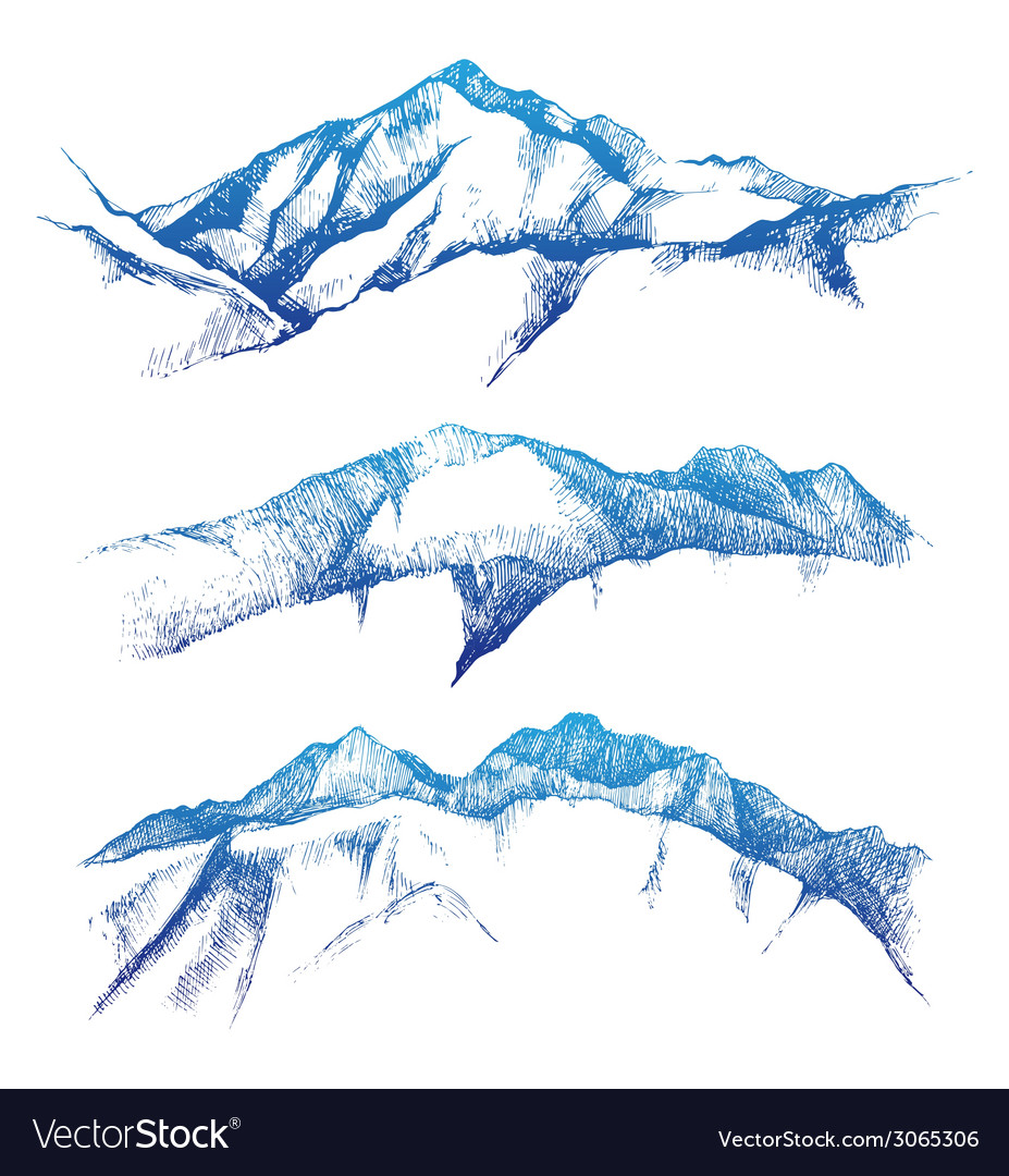 Hand drawn mountains vector | Price: 1 Credit (USD $1)