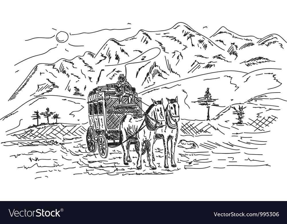 Horse wagon vector | Price: 1 Credit (USD $1)