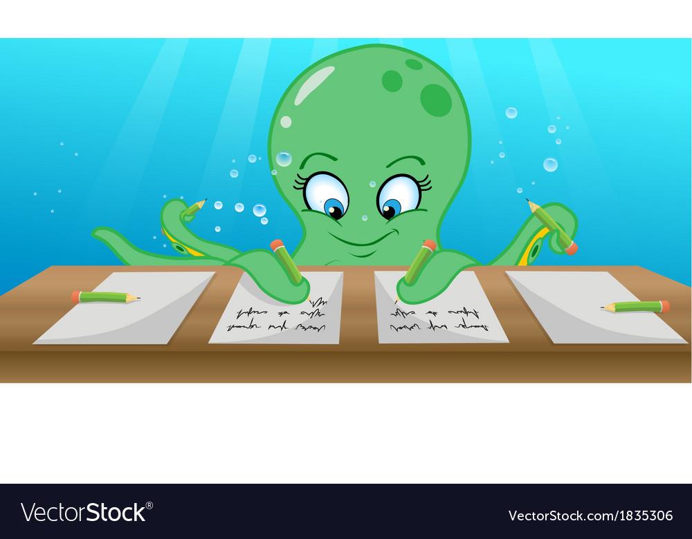 Octopus writing vector