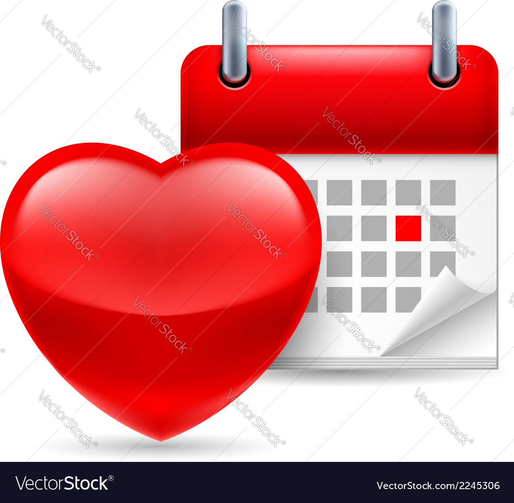 Red heart and calendar vector | Price: 1 Credit (USD $1)