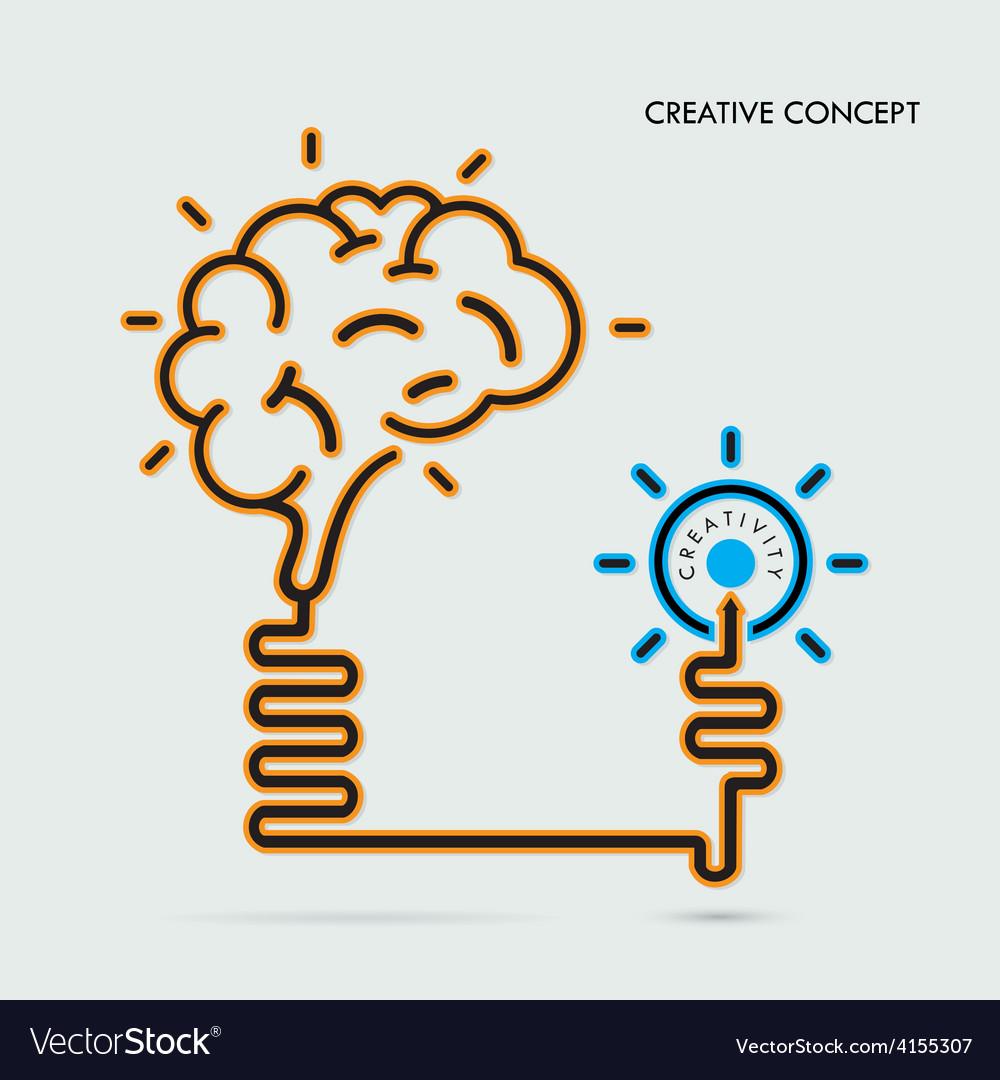 Creative brain idea and light bulb concept vector | Price: 1 Credit (USD $1)