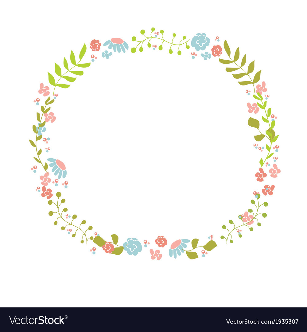 Cute floral wreath design for birthday card or vector | Price: 1 Credit (USD $1)