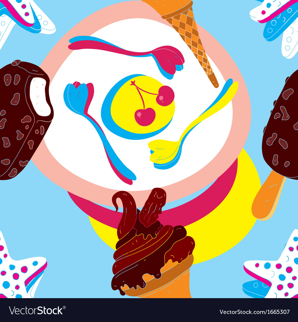 Ice cream seamless pattern vector | Price: 1 Credit (USD $1)