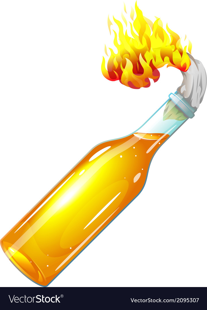 Molotov cocktail with burning rag vector | Price: 1 Credit (USD $1)