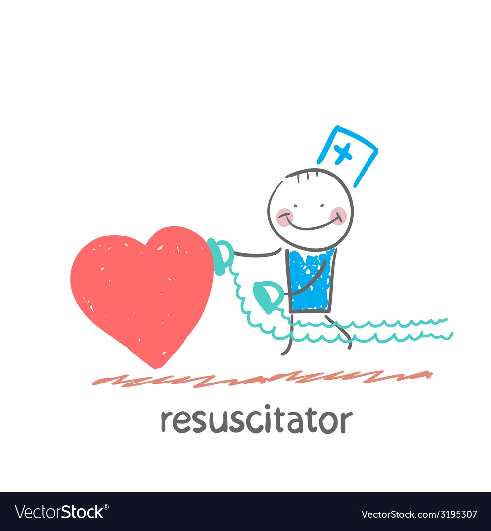 Resuscitator hurry to the heart is sick vector | Price: 1 Credit (USD $1)