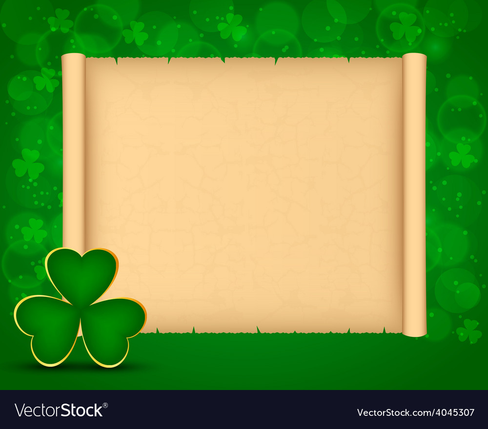 St patricks day background with parchment vector | Price: 1 Credit (USD $1)