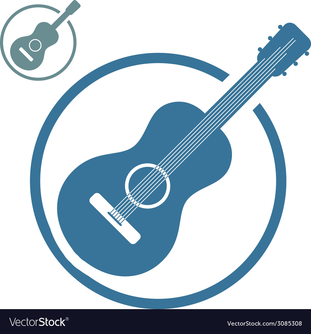 Acoustic guitar music icons isolated vector | Price: 1 Credit (USD $1)