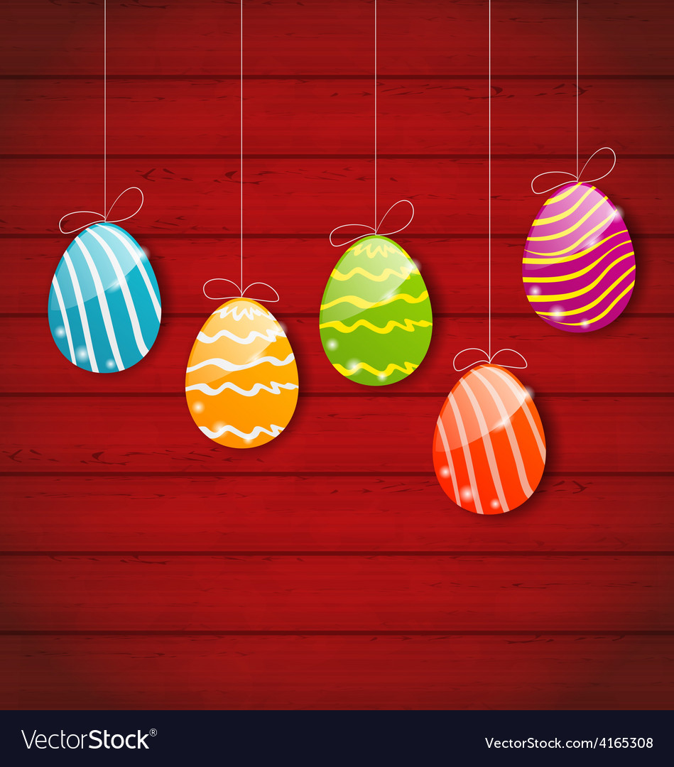 Easter three ornamental colorful eggs on wooden vector   Price: 1 Credit (USD $1)