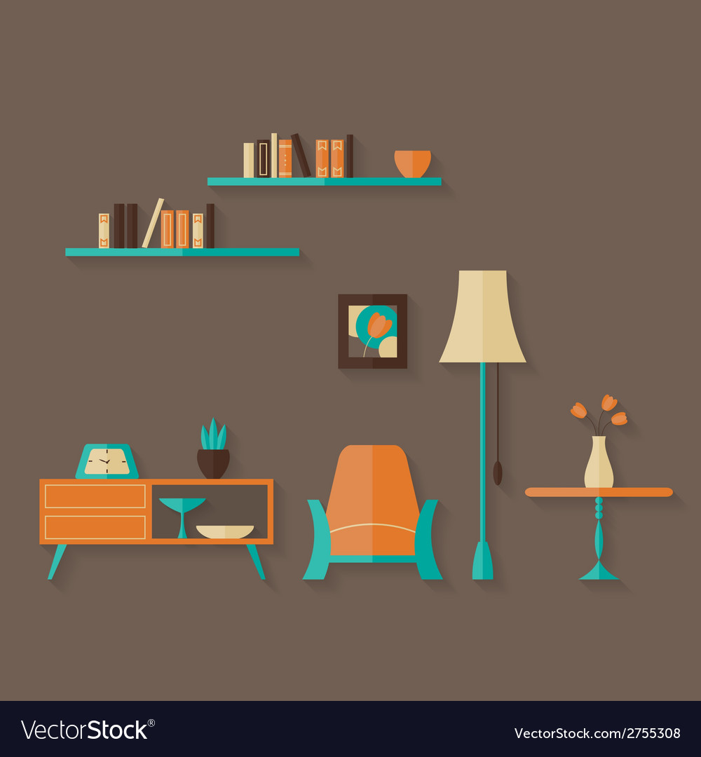 Flat furniture set over brown vector | Price: 1 Credit (USD $1)